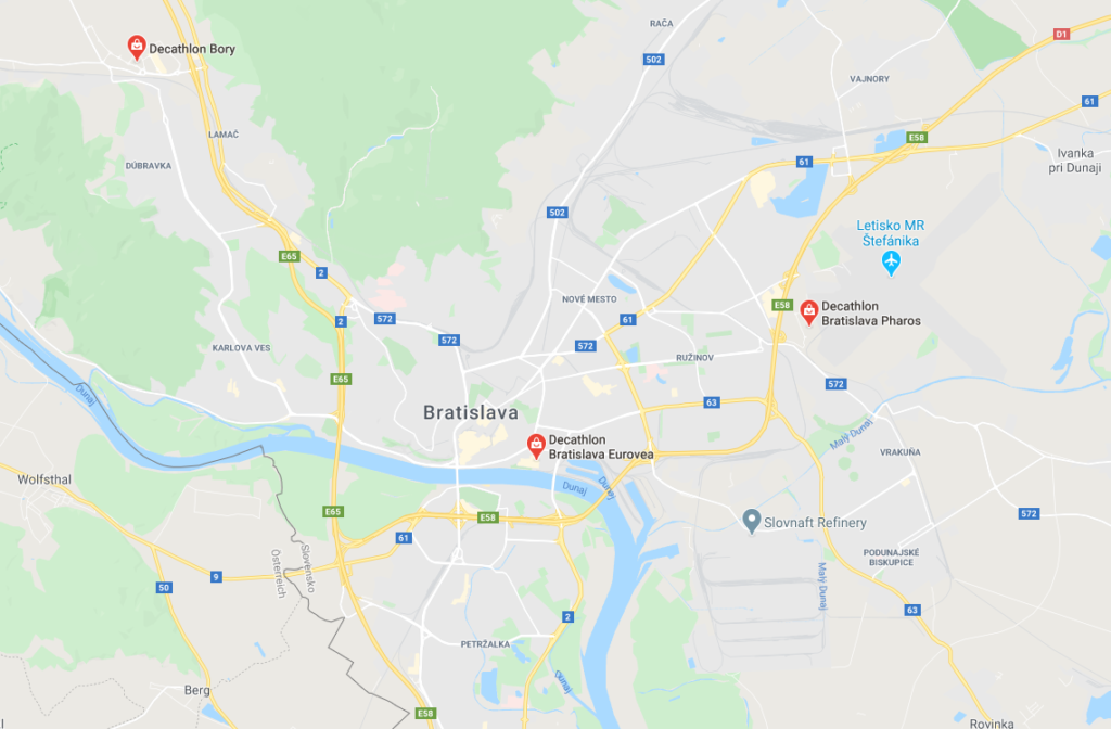 Decathlon Bratislava mapa